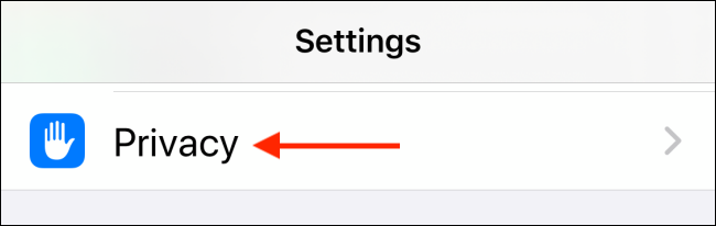 Tap on Privacy from Settings