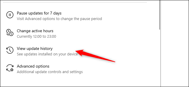 A red arrow pointing to the Update History option in the Settings app