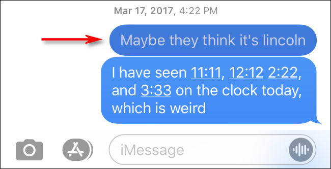 Search result seen in conversation in Messages for iPhone