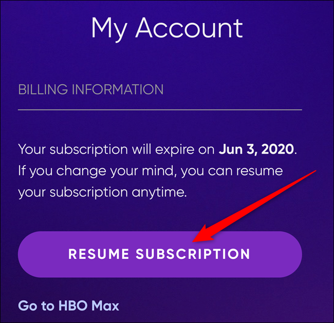 "Click the ""Resume Subscription"" button to reactivate your account"