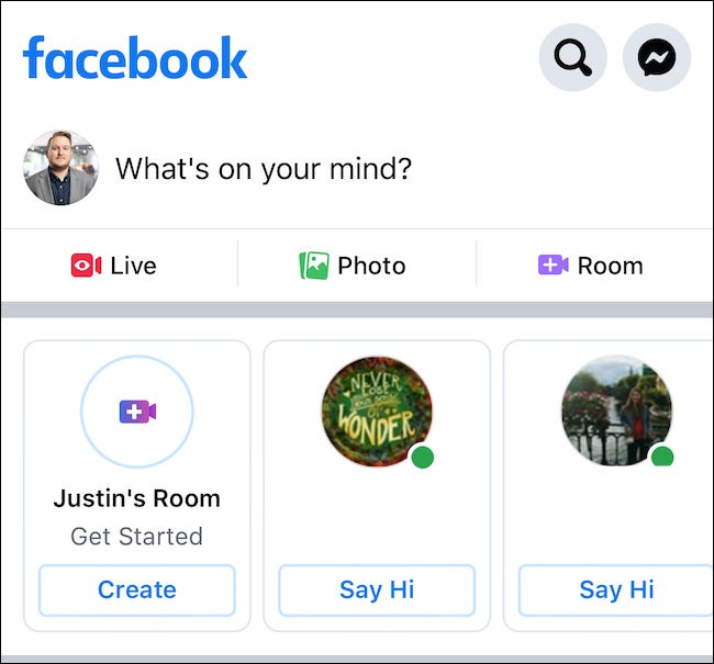 "Click the ""Say Hi"" button to join someone's room or select the ""Create"" button to start your own"