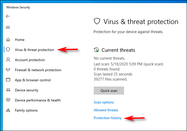 Click Protection history in Windows Security on Windows 10