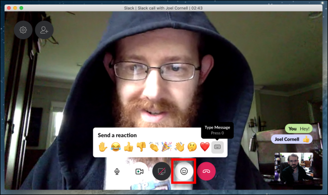 Slack video chat reactions and messages