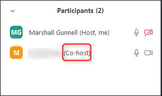 co-host will appear next to the participant name