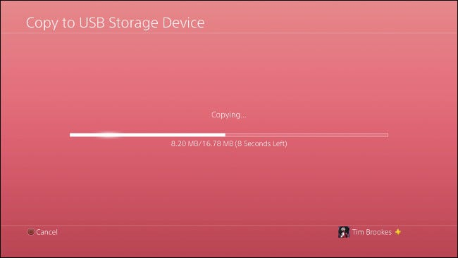 "The ""Copying"" progress bar on the ""Copy to USB Storage Device"" screen."