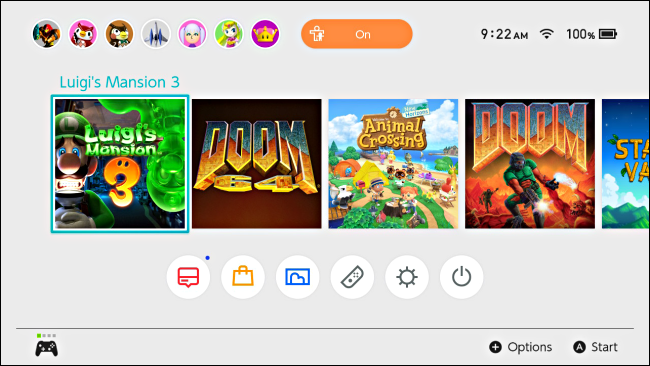 A game is highlit with the cursor on the Nintendo Switch home screen
