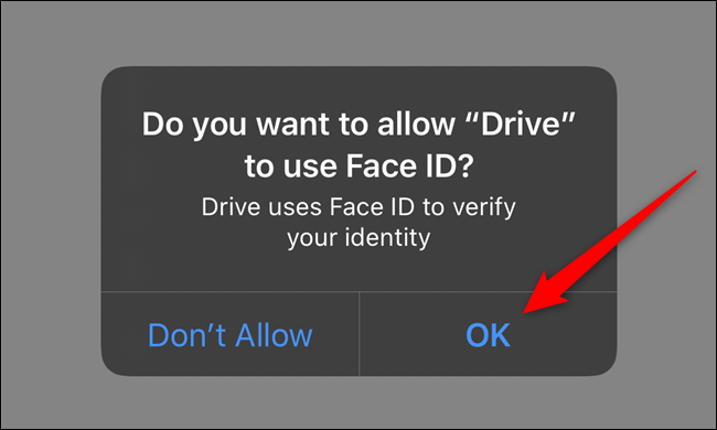 Give Google Drive permission to access Face ID or Touch ID