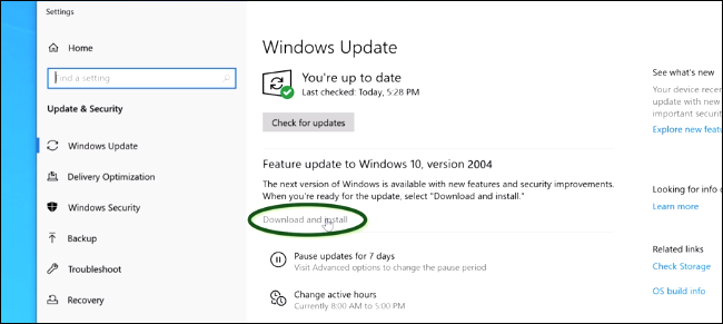 Installing the May 2020 Update from Windows Update