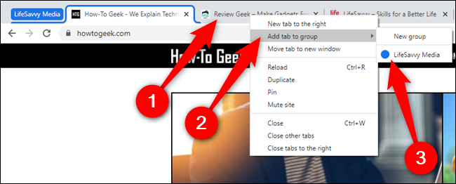 """Right-click on a new tab, hover over """"Add Tab To Group,"""" and then select a group"""