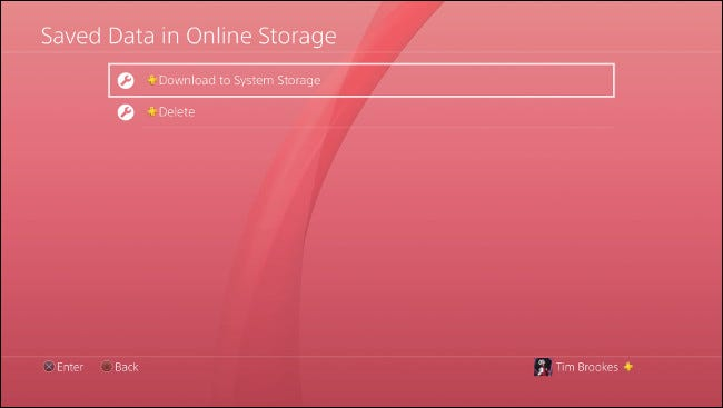 "Select ""Download to System Storage"" on PS4."