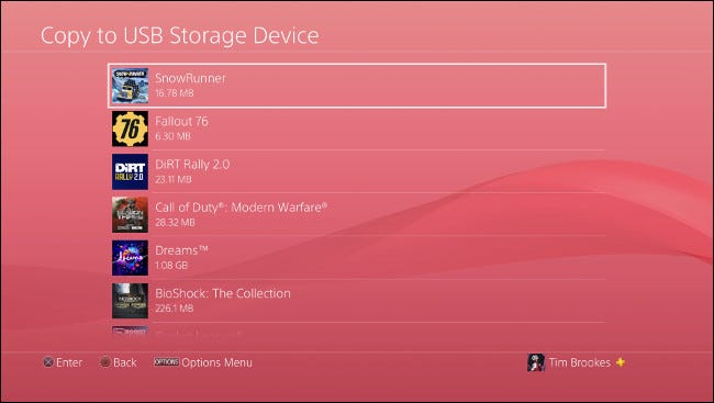 "The ""Copy to USB Storage Device"" menu on PS4."