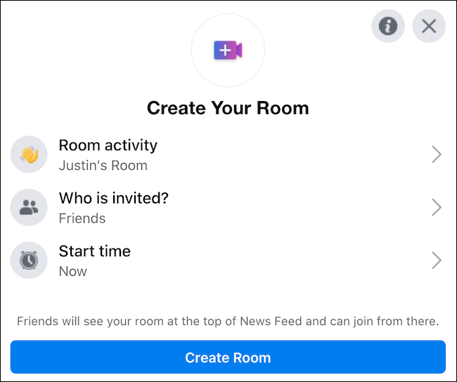 "Set up your Facebook Messenger room using the ""Create Your Room"" window"
