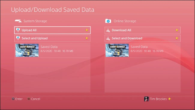 "The ""Upload/Download Saved Data"" menu on PS4."