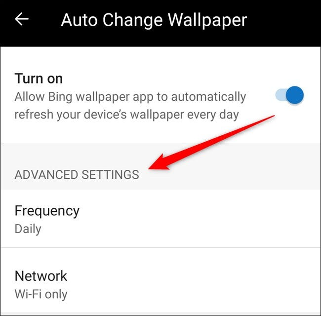 You can now customize the auto wallpaper's frequency and network preference settings.
