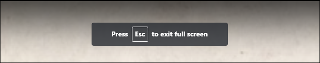 """The """"Press Esc to exit full screen"""" message while watching a full-screen video in YouTube."""