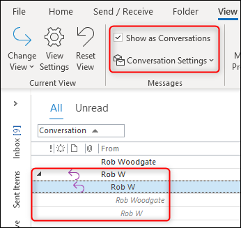 "Outlook's ""Conversation View"" working correctly."