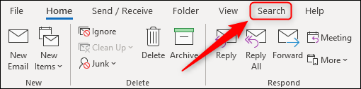 """The """"Search"""" tab on the Outlook ribbon."""
