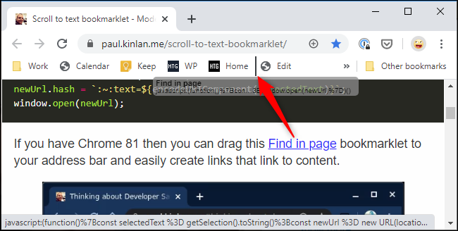 Adding the Find in page bookmarklet to Chrome's bookmarks toolbar