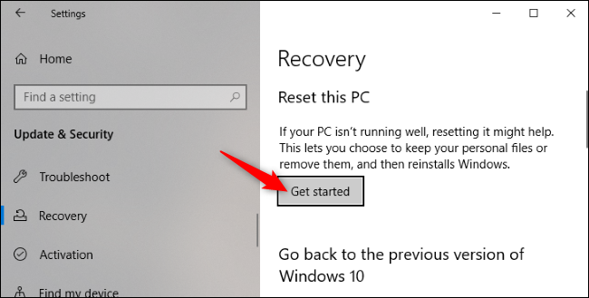 "The ""Get Started"" button under Reset this PC in Windows 10's Settings application."