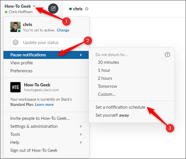 Accessing notification schedule options from Slack's menu.