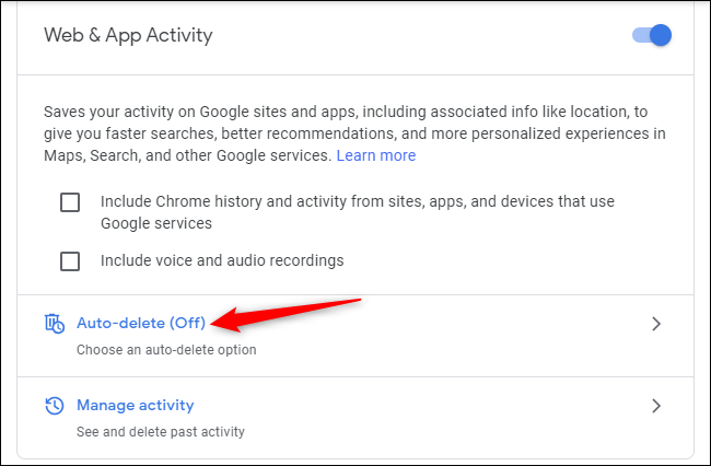 "Enabling ""Auto-delete"" for Web & App Activity on a Google account."