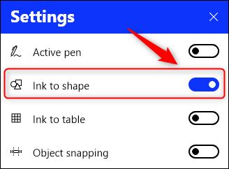 """The """"Ink to shape"""" menu option."""