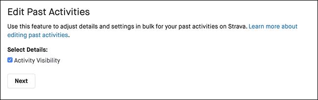 """The""""Edit Past Activities"""" menu in Strava."""