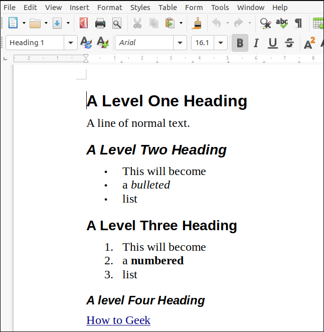 An ODT document rendered from markdown and opened in LibreOffice Writer.
