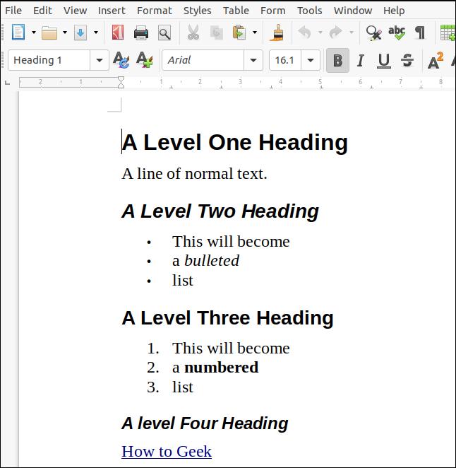 เอกสาร ODT ที่แสดงผลจากการมาร์กดาวน์และเปิดใน LibreOffice Writer