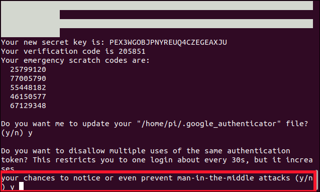 Do you want to disallow multiple uses of the same authentication token? (y/n) in a terminal window.