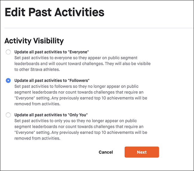 "The ""Activity Visibility"" menu."