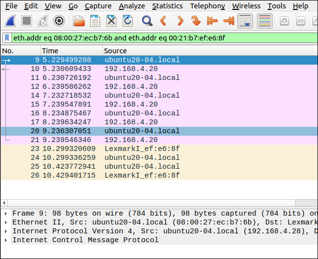 """Isolated ping """"conversation"""" in the Wireshark interface."""