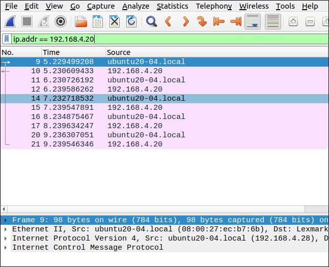 Wireshark with a filter of ip.addr == 192.168.4.20.