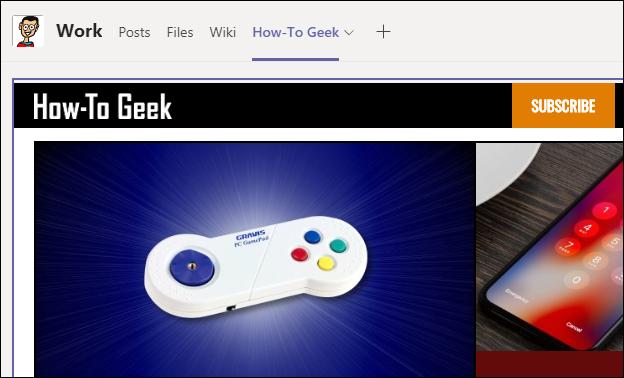 "The ""Website"" app showing the How-To Geek website."