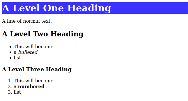 HTML rendered from markdown with a CSS style applied to the level one heading, in a browser window