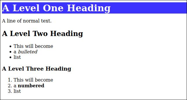 HTML ที่แสดงผลจาก markdown ด้วยรูปแบบ CSS ที่ใช้กับส่วนหัวระดับ 1 ในหน้าต่างเบราว์เซอร์