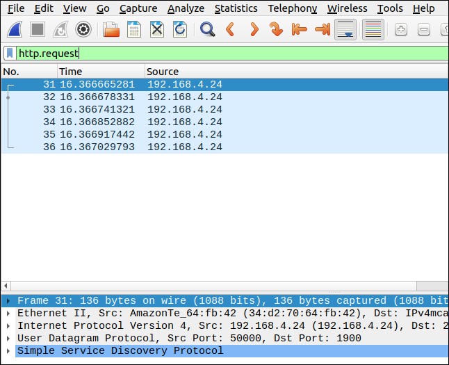 Wireshark with filter http.request
