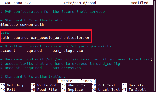 auth required pam_google_authenticator.so added to the sshd file in an editor, in a terminal window.