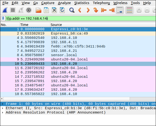 Wireshark with a filter of !(ip.addr ==192.168.4.14).
