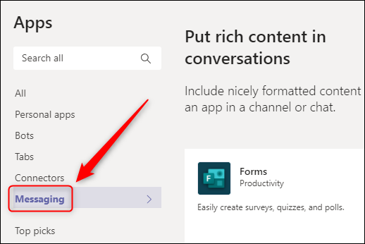 """The """"Messaging"""" filter in the """"Apps"""" menu."""