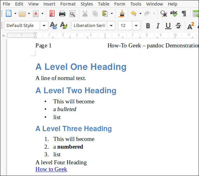 An ODT file rendered from markdown with a LibreOffice document acting as a style sheet, in a LibreOffice Writer window.
