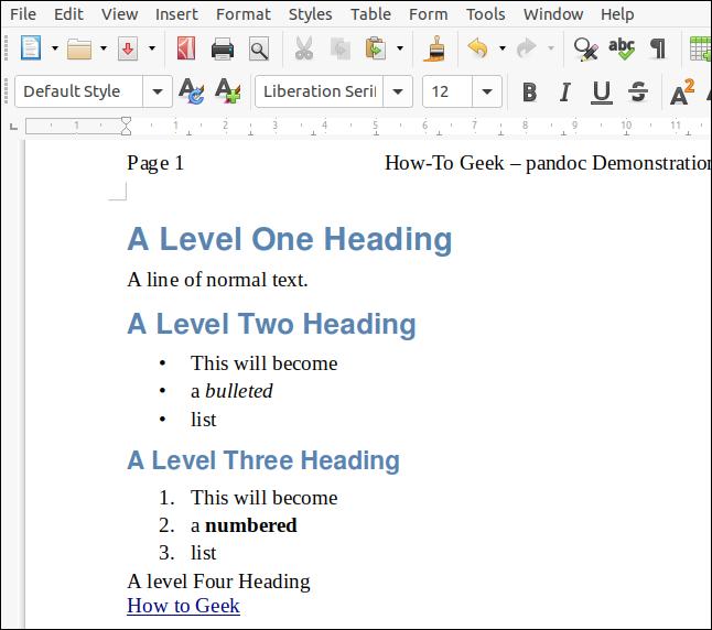 ไฟล์ ODT ที่แสดงผลจากการมาร์กดาวน์ด้วยเอกสาร LibreOffice ที่ทำหน้าที่เป็นสไตล์ชีตในหน้าต่าง LibreOffice Writer