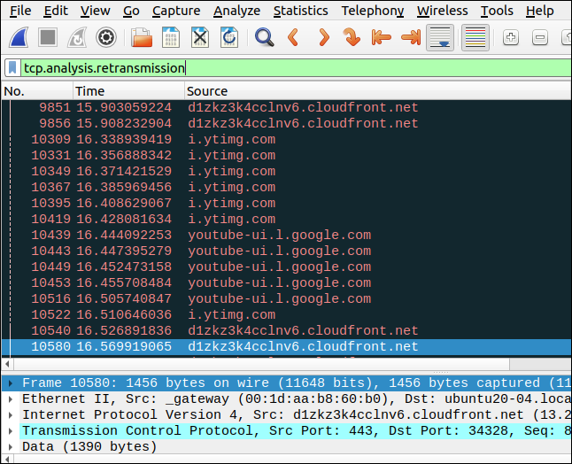 Wireshark with a filter of tcp.analysis.retransmission.