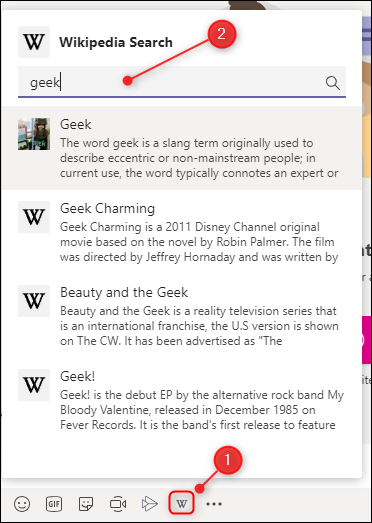 The Wikipedia app search function showing a variety of articles.