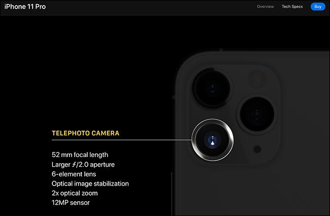 The telephoto camera details on iPhone 11 Pro.