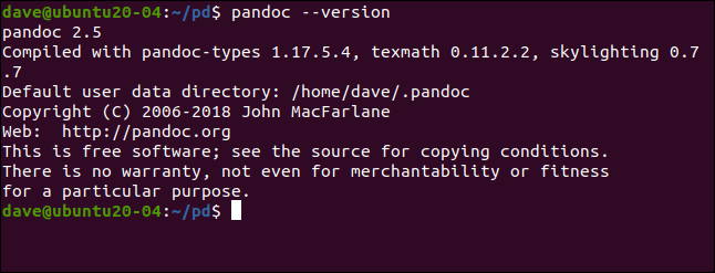 pandoc --version in a terminal window.