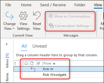 Outlook's conversation options grayed out.