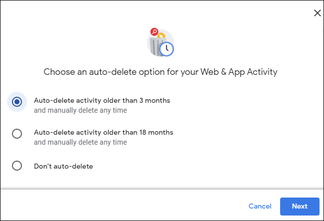 Auto-deleting activity older than 3 months in a Google account.