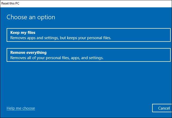 Elegir si conservar o eliminar archivos al restablecer Windows 10.