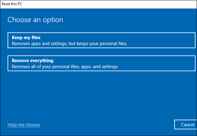 Choosing whether to keep or remove files while resetting Windows 10.